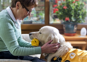 Na foto, o cão Oscar está treinado para levar a medicação à sua dona.